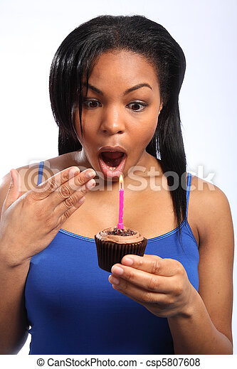 Surprise Birthday Candle And Chocolate Cake Close Up Headshot Of