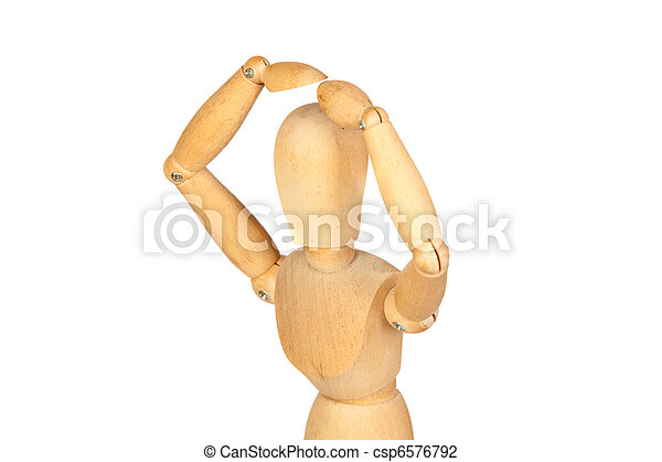 Surprise jointed wooden mannequin - csp6576792