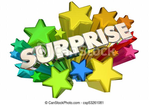 surprise stars big announcement word 3d illustration