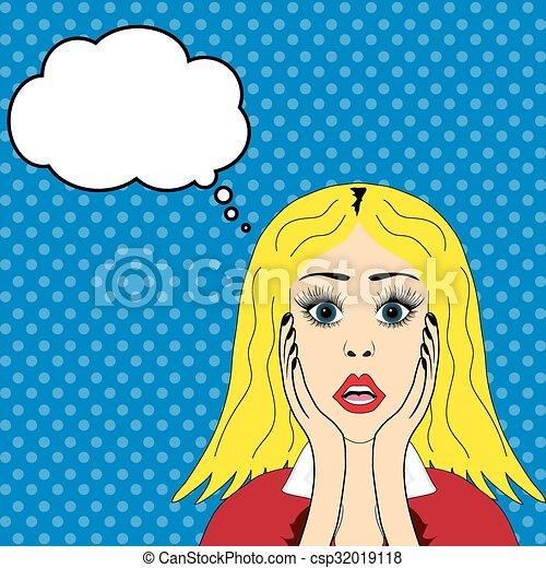 Surprised blonde girl - csp32019118