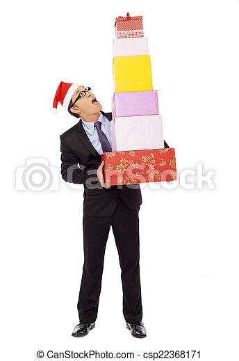 surprised businessman holding gift boxes . isolated on white - csp22368171