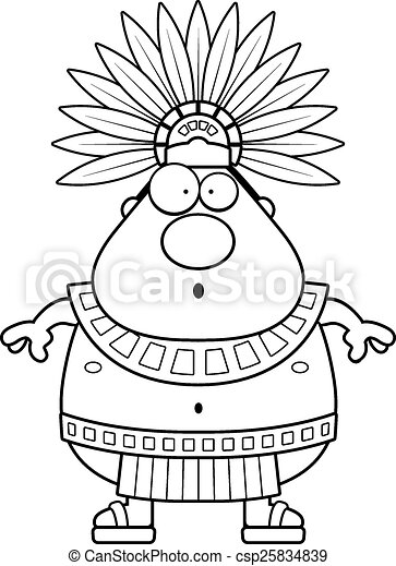 Surprised Cartoon Aztec King A Cartoon Illustration Of An Aztec