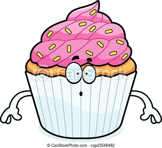 Surprised Cartoon Cupcake - csp23548482