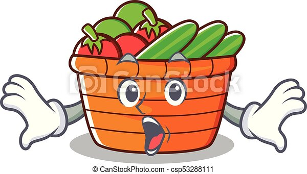 surprised fruit basket character cartoon vector illustration vector rh canstockphoto ca fruit basket clipart free fruit basket clipart black and white