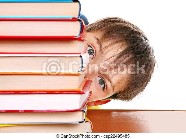 Surprised Kid behind the Books - csp22495485