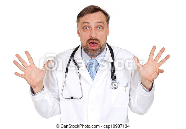 Surprised male doctor in his office - csp10937134