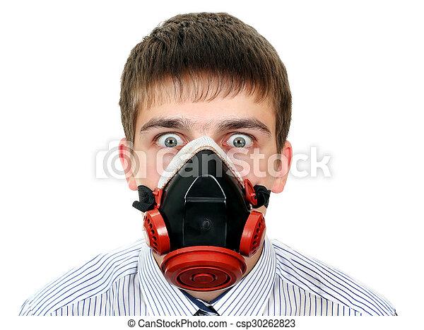 Surprised Man in Gas Mask - csp30262823