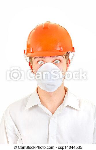 Surprised Man in Hard Hat - csp14044535