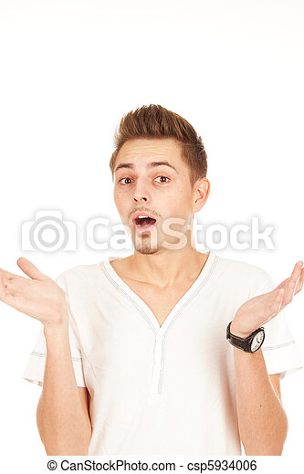 surprised man on a white background - csp5934006