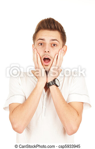 surprised man on a white background - csp5933945