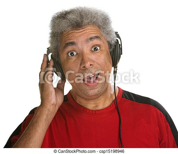Surprised Man with Headphones - csp15198946