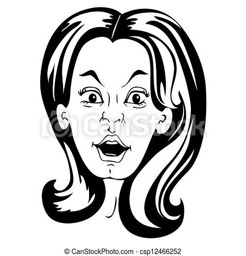 Surprised Woman Face Cartoon Style