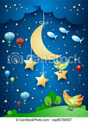 Surreal night with moon, birds, balloons and flying fishes - csp85769557