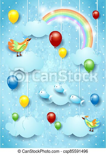 Surreal sky with balloons, flying fishes and birds. Vector illustration eps10 - csp85591496