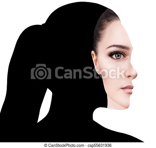 surrealistic portrait front with cut out profile of woman isolated