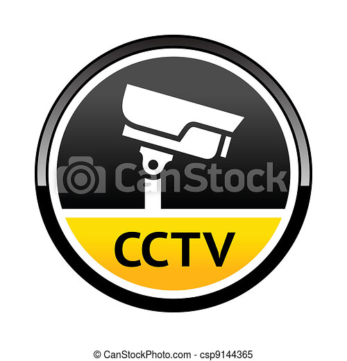 Surveillance Camera Warning Round Symbol Warning Sticker For