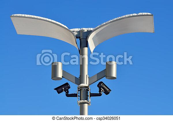Surveillance cameras and modern lighting - csp34026051