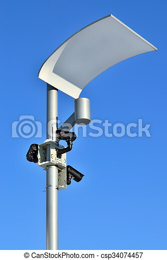 Surveillance cameras and modern lighting - csp34074457