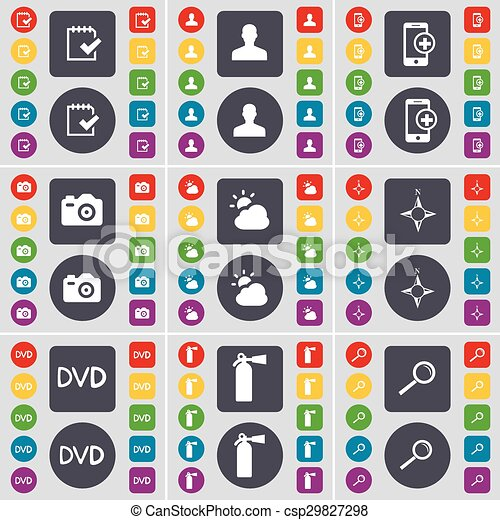 Survey, Avatar, Smartphone, Camera, Cloud, Compass, DVD, Fire extinguisher, Magnifying glass icon symbol. A large set of flat, colored buttons for your design. Vector - csp29827298