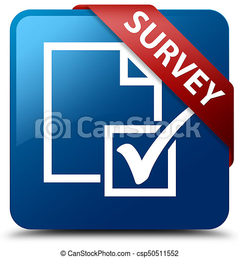 Survey blue square button red ribbon in corner - csp50511552