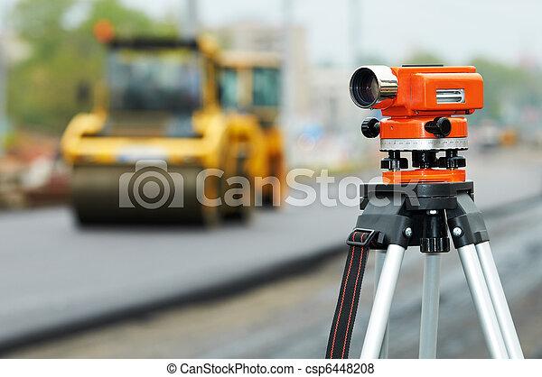 survey equipment at asphalting works - csp6448208
