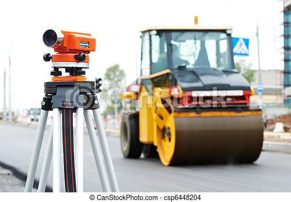 survey equipment at asphalting works - csp6448204
