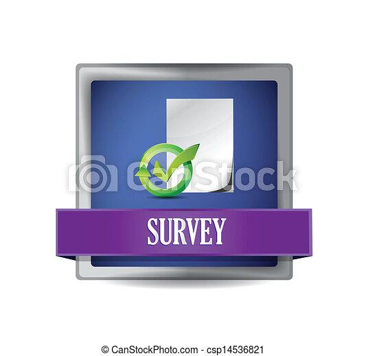 Survey glossy blue button illustration - csp14536821