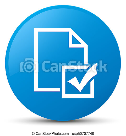 Survey icon cyan blue round button - csp50707748