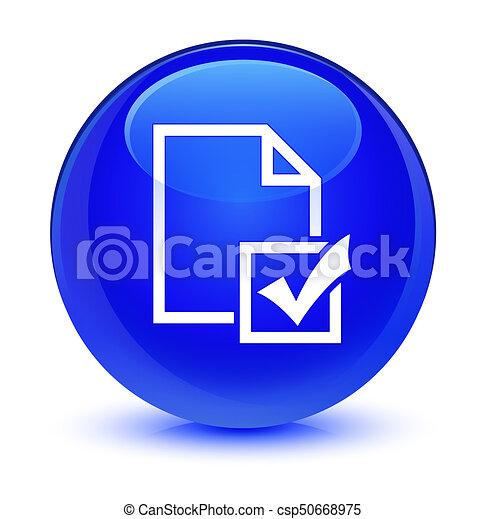 Survey icon glassy blue round button - csp50668975