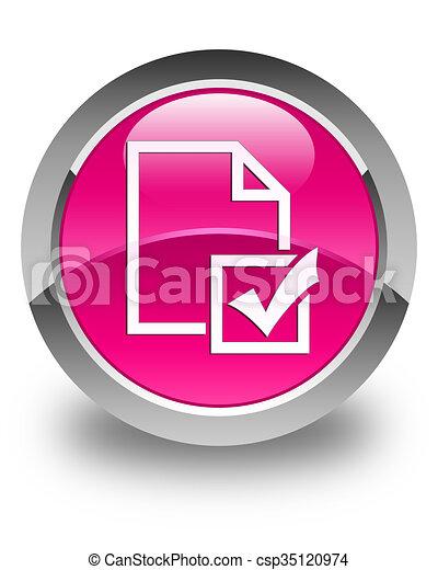 Survey icon glossy pink round button - csp35120974