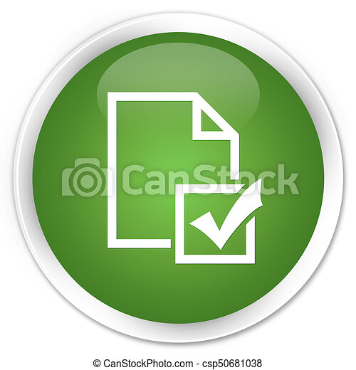 Survey icon premium soft green round button - csp50681038