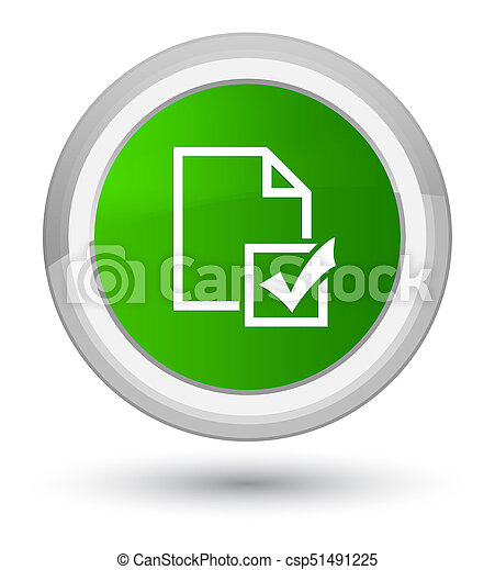 Survey icon prime green round button - csp51491225