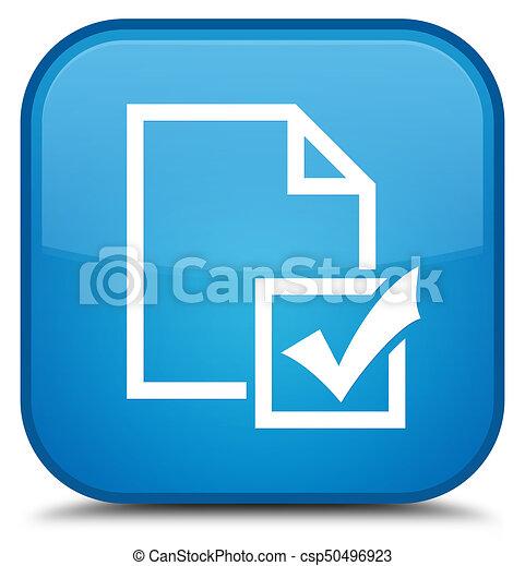 Survey icon special cyan blue square button - csp50496923