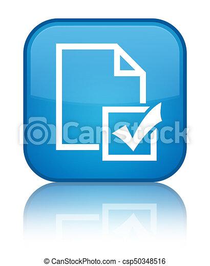 Survey icon special cyan blue square button - csp50348516