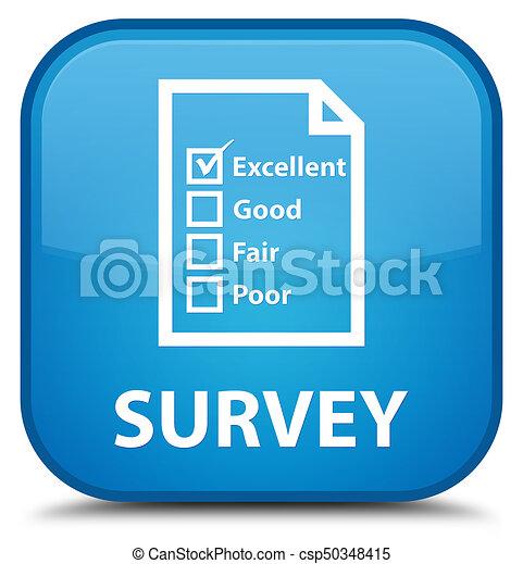 Survey (questionnaire icon) special cyan blue square button - csp50348415