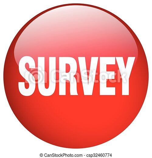 survey red round gel isolated push button - csp32460774