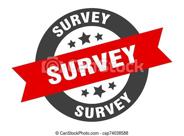 survey sign. survey black-red round ribbon sticker - csp74038588
