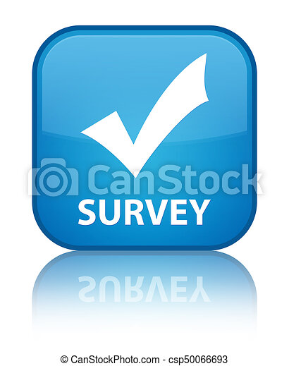 Survey (validate icon) special cyan blue square button - csp50066693