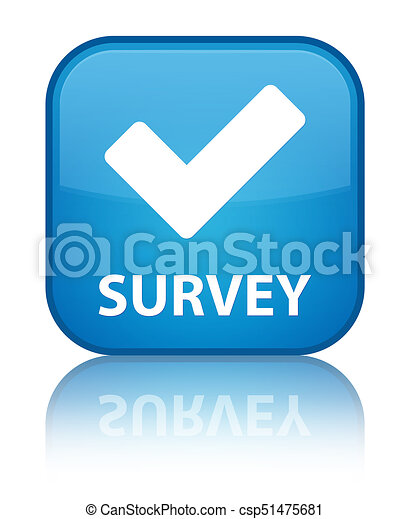 Survey (validate icon) special cyan blue square button - csp51475681