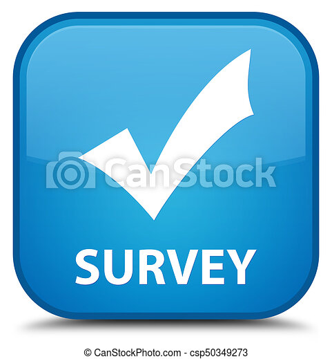 Survey (validate icon) special cyan blue square button - csp50349273