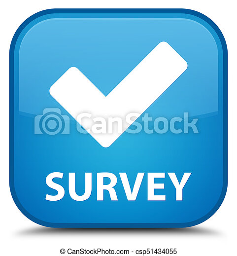 Survey (validate icon) special cyan blue square button - csp51434055