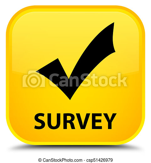 Survey (validate icon) special yellow square button - csp51426979