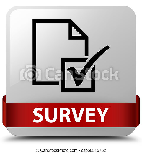 Survey white square button red ribbon in middle - csp50515752