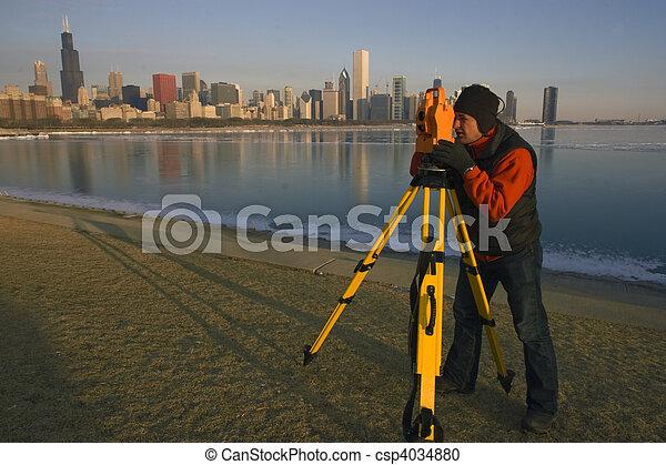 Surveying in Chicago - csp4034880