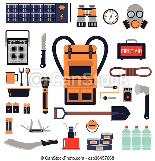 Survival emergency kit for evacuation vector objects set. - csp36457668