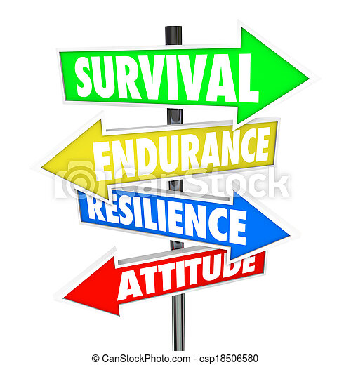 Survival, Endurance, Resilience and Attitude words on colorful road signs with arrows pointing to directions for overcoming a problem, trouble or difficult challenge - csp18506580
