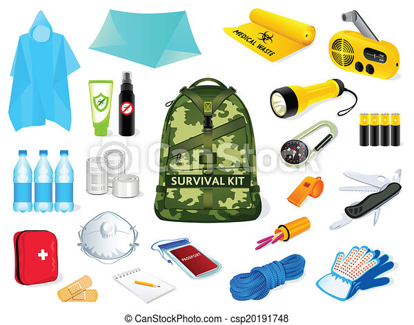 backpack and survival kit in case of the nature disasters eps vector rh canstockphoto com survivor clipart survivor clipart
