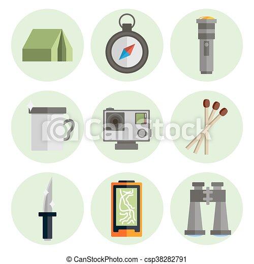 Survival kit flat icons set - csp38282791
