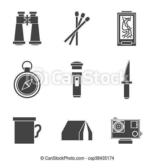 Survival kit icons set - csp38435174