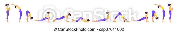 surya namaskar a sun salutation yoga asanas sequence set